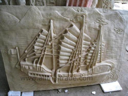 Cast stone ship sculpture by Nanagarden.com