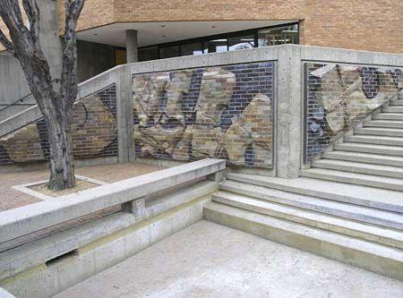 Ken Williams Studio: salt glazed sculptured brick at Sangre de Cristo Arts Center - Pueblo, CO
